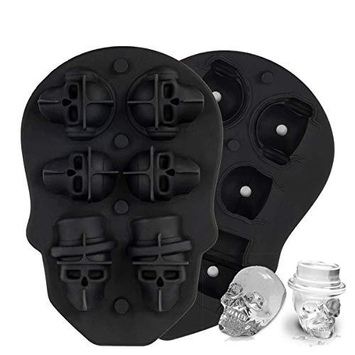 3D Totenkopf Eiswürfelform, MojiDecor Ice Cube Formen 6 Vivid Schädel, Lebensmittelqualität flexibel Silikon Ice Cube Maker für Whiskey Eis und Cocktails Saft Getränke - Desinfizieren Geschirrspüler