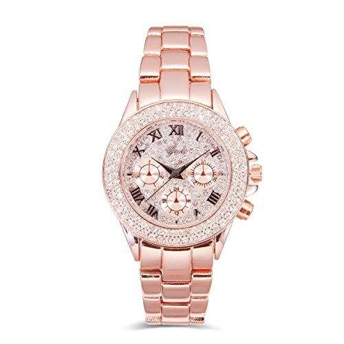 Modeschmuck Designer Berühmt (Yaki Damen Luxus Strass Gold Uhr Quarz Analog Uhren Mit Edelstahl Goldfarbe)