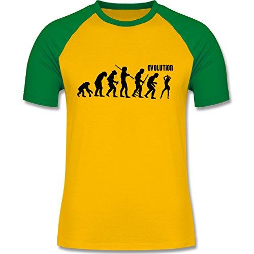 Evolution - Tanz Evolution - zweifarbiges Baseballshirt für Männer Gelb/Grün