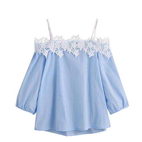 Ouneed® shirts blusen damen , Geschenk Sommer Misses schulterfreie Spitze Floraler T-Shirt Top Damen Tops T-Shirt Bluse (XL, Blau) (Schulterfreies T-shirt)