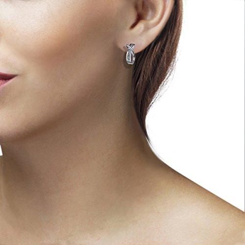 Goldmaid Damen-Creolen 925 Sterlingsilber mit 14 weißen Zirkonia Ohrringe Schmuck - 3