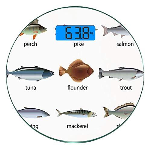 Digitale Präzisionswaage für das Körpergewicht Runde Ozean Tier Dekor Ultra dünne ausgeglichenes Glas-Badezimmerwaage-genaue Gewichts-Maße,Gruppe Fische mit Barsch Tuna Pike Flounder Mackerel Trout Aq -