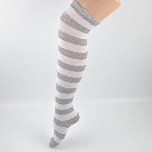 bonytain 1Paar Mädchen gestreift Baumwolle Oberschenkel hohe Strumpf über das Knie Socken Fashion Grau und Weiß