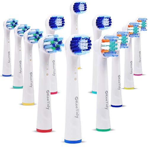 Elektrischer Zahnbürstenköpfe kompatibel mit B Braun, 12 Zahnbürstenaufsatz passend für Oralb-Basis, inklusive 4 Precision Clean, 4 Floss Action, 4 Cross Action