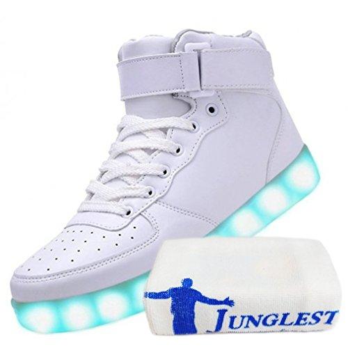 (present: Pequena Toalha) Junglest Mulheres Novas Sapatilhas Brilhantes Sapatos Led Piscando Luz Luz De Cor Branca Wech