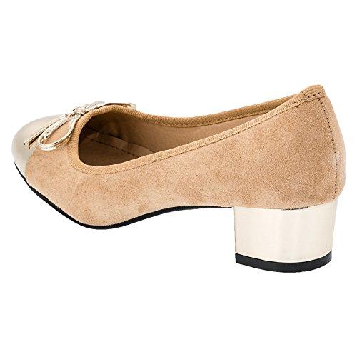 Vices-Verso Damen Pumps High Heels Wildlederimitat mit Besonderen Akzenten #833go Gold