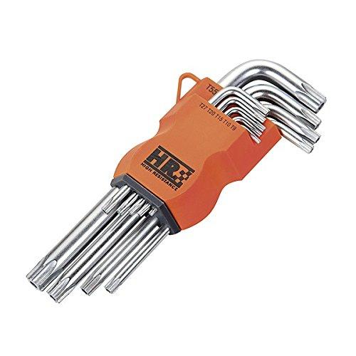 Alyco 170615 - Juego de 9 llaves torx inviolables largas HR High Resistance acero Cr-V en soporte