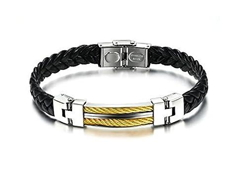 Bracelet Homme en cuir noir tressé avec fermoir boucle - plaque en acier argentée avec fil d