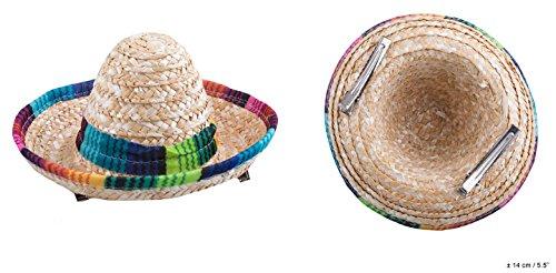 Neu Mini-Hut Sombrero aus Stoh, mit Clips (Mini Sombrero Party Hüte)