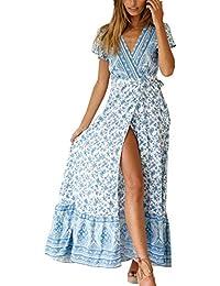 872887a1ba4bb Ajpguot Donna Estivo Bohemian Vestiti a Stampa Fiore Vestito da Spiaggia  Sexy V Collo Abito da