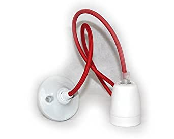 Lightstyl - Plafonnier Lampe Tendance Deco Vintage en Porcelaine - DECL-159 - Pavillon et douille Blanche avec Cable textile Rouge
