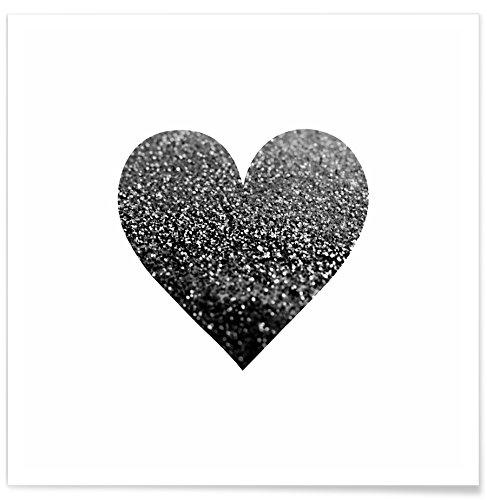 JUNIQE® Poster 20x20cm Schwarz & Weiß Herzen - Design