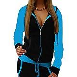 Yying Damen Zweiteiler Outfits Herbst Damen Mode Trainingsanzug Damen Mit Kapuze Kordelzug Weibliche Kleidung Sweatsuit Blau 2XL