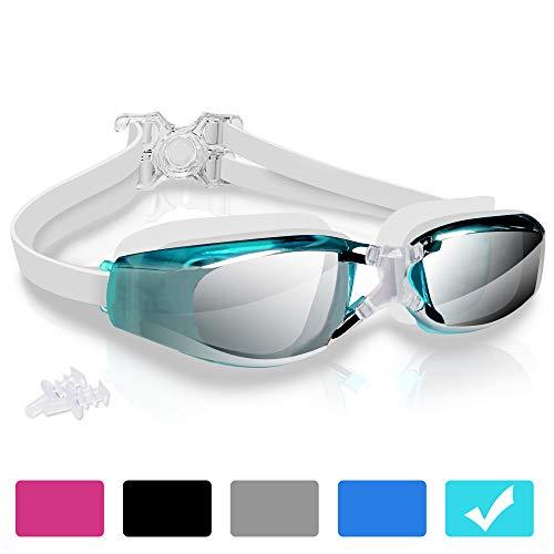 arteesol Schwimmbrille, Anti Fog Schwimmbrille Kristallklare 180 ° Panoramasicht Verspiegelt mit 100% UV-Schutzbeschichtung mit Schutzhülle und Ohrstöpsel für Erwachsene und Kinder (Oceanblue, 1 pcs)