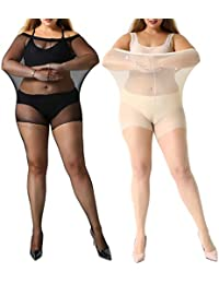 60c3c0fded85c MANZI Women's 2 Pairs Plus Size Control Top Ultra-Soft Tights