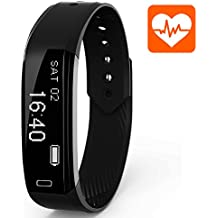Ancheer Fitness Tracker Monitor de Ritmo Cardíaco Pulsera Inteligente Bluetooth 4.0 Dormir Tracker Paso Distancia Contador de Calorías, Podómetro Seguimiento de la Actividad Deportiva Smart Watch para el iPhone Smartphones Android