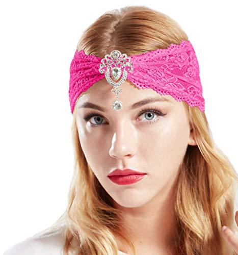 Exotische Kostüm - Coucoland Spitzen Haarband Damen Turban Hut mit Anhänger Kristall Brosche 1920s Stirnband Damen Exotisch Fasching Kostüm Accessoires (Rose Rot)