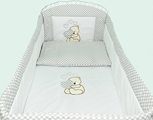 3pcs Bedding Set with ALL ROUND BUMPER, Covers and Quilt, Pillow to fit Cot Bed (140 x 70cm)100% COTTON! (Grey Teddy Bear)