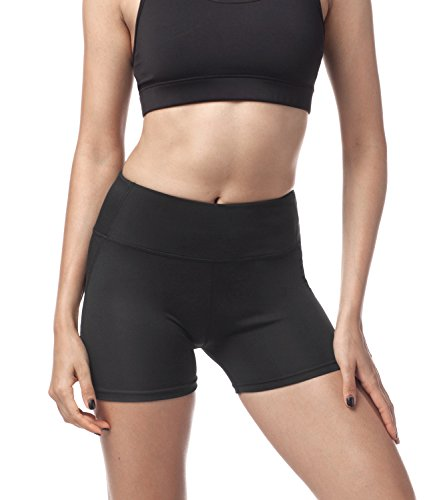 Lapasa Damen Sport Shorts, Damen Sportshort, L009 (S ( Taille 66 - 69 cm,Länge 30), Schwarz)