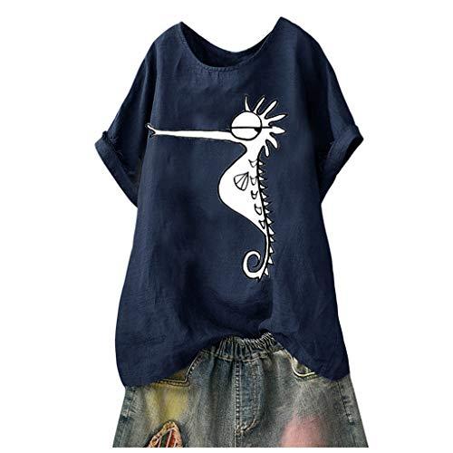 Shop Retro Bowling Shirt (Riou Leinen BlusenDamen Sommer Kurzarm Shirt Retro Streifen Elegant Oberteile Baumwolle Leinen O-Neck T Shirt Casual Große Größen Loose Tunika Blusenshirt Günstig)
