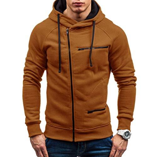 (CICIYONER ❥(^_-) Herren Herbst Beiläufig Solide Lange Ärmel Kapuzenpullover Sweatshirt Oben Outwear)