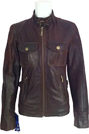 Ladies Brown crunch real leather Jacket #F1 (10)