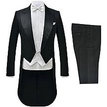 vidaXL Frac Nero Abito Elegante Uomo 2 pz Giacca e Pantaloni Cerimonia 063b16229ca