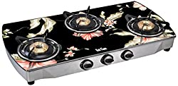 Rich Flame 3 Burner Curve Digital Elegant Gas Stove, Black