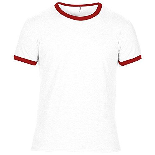Anvil Herren Ringer T-Shirt mit Rundhalsausschnitt, Kurzarm, besonders leicht (Small) (Weiß/Rot) (Kurzarm Ringer T-shirt Trikot)