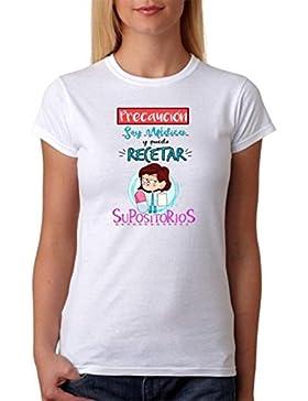 Camiseta Médica. Precaución Soy Médica y Puedo recetar supositorios. Camiseta de Alta Calidad de Algodón para...