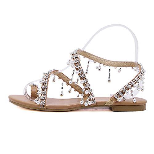 BaZhaHei Sommer Elegante Boho Vintage Damen Frauen Mode Perlen Sandalen Sommer Schuhe Party Sexy Perle Flache Unterseite Clip Toe Flip Flop Zehentrenner Schuhe Übergröße Sommerschuhe (39, Braun)