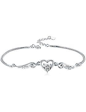 F.ZENI Schmuck Damen Armband Set Engelsflügel Herz Basic 925 Sterling Silber Zirkonia mit Etui