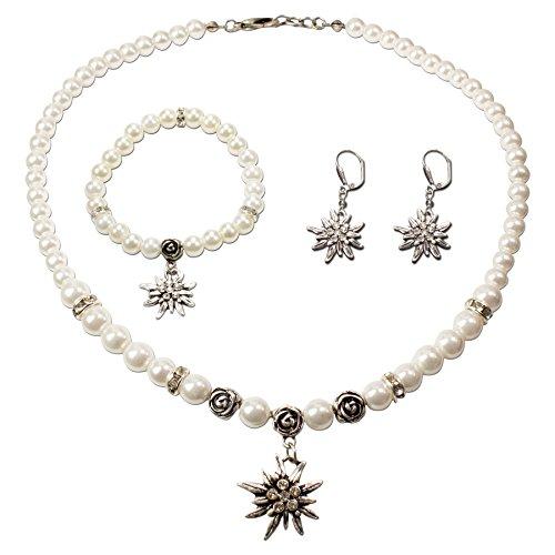 Trachtenschmuck * Trachtenset Perlenkette & Edelweiß-Armband & Ohrhänger * Damen Dirndlkette & Trachten-Armkette & Ohrringe * Trachtenkette Strass-Edelweiss klein * Dirndl-Schmuck (creme-weiß)