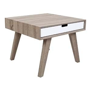 Premier Housewares 2403038 Idun Table d'Appoint avec 2 Tiroirs MDF/Placage/Bois de Frêne Blanc