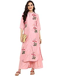 dbdd91598a Ziyaa women's Pink color Straight Digital Print Kurta Palazzo set  (ZIKUPS2361ANDPL)