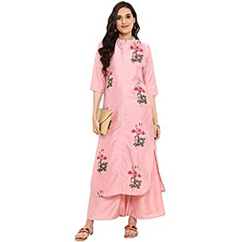 ZIYAA Women's Straight kurta with Palazzo (ZIKUPS2361ANDPL-S_Pink_Small)