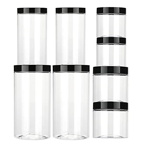 Aitsite barattoli in plastica trasparente con coperchio superiore nero, contenitori plastica trasparente per caramelle, marmellate, noci, spezie da cucina -8 pezzi