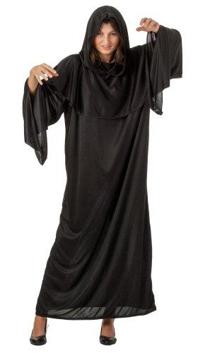 spass42 Damen Kostüm Gevater Tod Kutte Lang Schwarz Sensenmann Horror Halloween Sensemann Unisex Umhang Groesse: L/XL