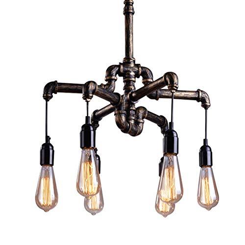 Pipe Pendelleuchte (Retro-Stil Kronleuchter Vintage Industrial Pendelleuchten Metall Water Pipe 6 Kopf Hängeleuchte Höhenverstellbar, für Bar Küche Wohnzimmer und Schlafzimmer Pendellampe, E27 Sockel-Lampe Φ50CM)
