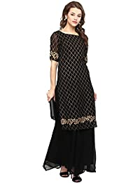 Ahalyaa Black Colored Half Sleeve And Boat Neck Georgette Kurti