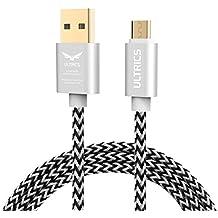 ULTRICS Cable Micro USB 3M, Cable USB Carga Rápida y Datos Sincro, Android Cargador Cable Compatible con Samsung Galaxy, Sony, LG, PS4 Xbox 360, Huawei, Xiaomi, Smartphones, Tabletas y más - Blanco