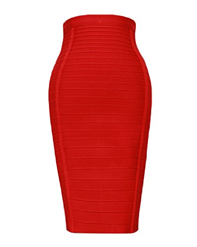 Whoinshop Women's Stretchy Slim Fit Midi Pencil Skirt with Zipper Red S (Rock Go Red Lange)