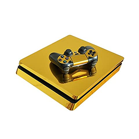 DOTBUY PS4 Slim Vinyl Decal Autocollant Skin Sticker pour Playstation 4 Slim console + 2 Dualshock Manette Set (Glossy Gold)