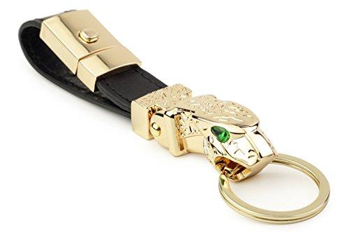 Llavero auto de lujo del coche del metal de Jaguar DPOB, llavero del valet del cuero del grano de la avestruz con 3 llaveros (oro)
