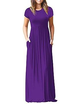 Topgrowth Vestito Lungo Donna Casual con Tasche Manica Corta Vestito Sciolto Elastico Vestito Tinta Unita Abiti...