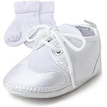 Pasos Suela Niño para Bautismo de Zapatos bebé Primeros Bebe de Zapatos Suave Blanco Zapatos DELEBAO 0RgqZCACw