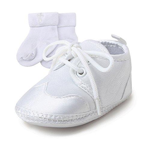 DELEBAO Baby Taufe Schuhe Taufschuhe Babyschuhe Turnschuhe Krabbelschuhe Weiche Sohle Weiße Schnüren für Mädchen Junge Kleinkind (Schuhe-3&Socken,9-12 Monate)