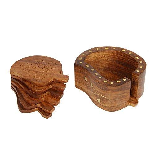 icrafts Palisander Fruit geformte Holz Untersetzer-Set mit 4Runde handgefertigt Tisch Untersetzer & Dekorativer Holz Halterung für Tee Tassen Kaffee Becher Bier Dosen Bar Trinkgläsern Wasser Glas