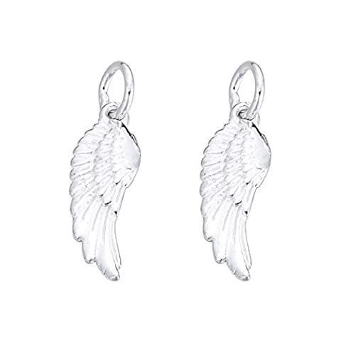 5PCS 925 Sterling Silver Angel Wing Charm for Jewelry Making Finding 18.5mmx6.5mm