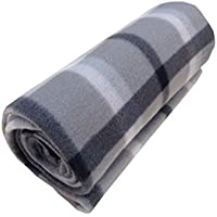 Tartan Check Polar Fleece, Throw Blanket, Suitable for Chair or Bed, Machine Washable, 127cm x 152cm, Grey / Silver